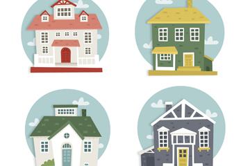 4款彩色房屋设计矢量素材