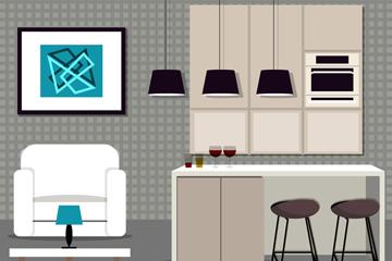 时尚开放式厨房客厅设计矢量图