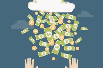 创意下钱币的云和手矢量素材