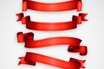 5款红色丝带条幅矢量素材