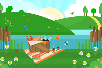创意郊外风景和野餐篮矢量素材