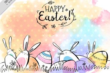 彩�L�突罟�兔子和彩蛋矢量素材