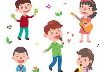 5款卡通音乐儿童矢量素材