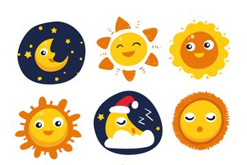 9款卡通太阳和月亮矢量素材