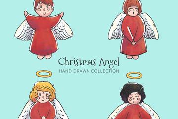 4款彩绘圣诞节天使矢量素材