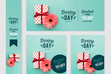 5款彩色节礼日促销卡片矢量素材