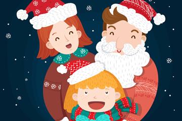 可爱圣诞三口之家矢量素材