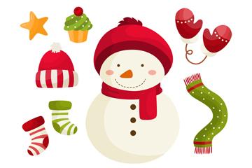 可爱雪人和7款圣诞元素矢量图