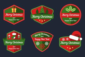 9款绿色圣诞快乐标签矢量素材