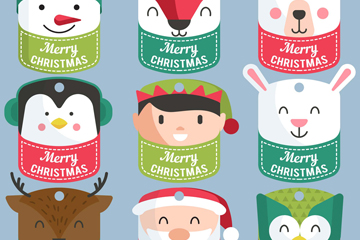 9款可爱圣诞角色吊牌矢量素材