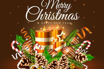 精美圣诞节蜡烛祝福卡矢量素材