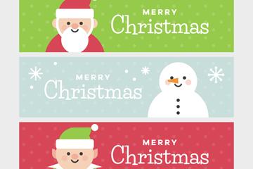 3款清新圣诞节元素banner矢量素材