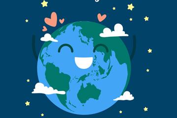 可爱世界地球日地球贺卡矢量图