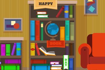 创意世界图书日书房设计矢量素材