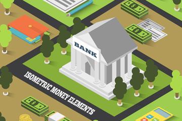 创意立体银行和周边风景矢量素材
