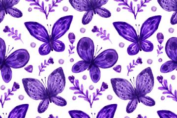 紫色蝴蝶无缝背景矢量素材