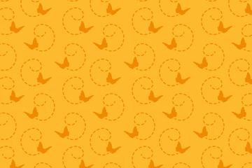 黄底橙色蝴蝶无缝背景矢量素材