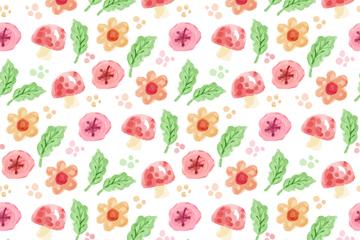 水彩绘花卉和蘑菇无缝背景矢量图