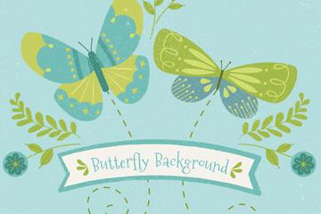 2只彩绘蝴蝶设计矢量素材