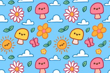 可爱蘑菇太阳和花朵无缝背景矢量图