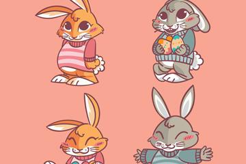 4款彩绘兔子设计矢量素材