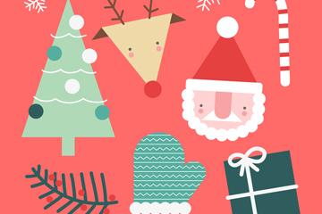 7款可爱圣诞节元素矢量素材