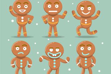 6款搞怪姜饼人矢量素材