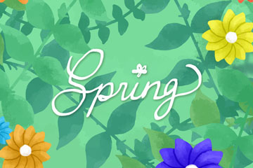 彩色春季花卉和枝叶矢量素材