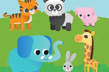 6款可爱大眼睛动物矢量素材