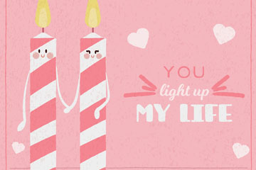 可爱情人节蜡烛贺卡矢量素材