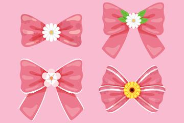 4款创意花芯粉色蝴蝶结矢量素材