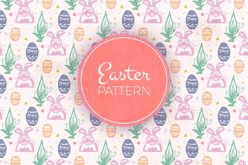 彩绘兔子和彩蛋无缝背景矢量图