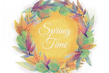 水彩绘春季树叶花环矢量图