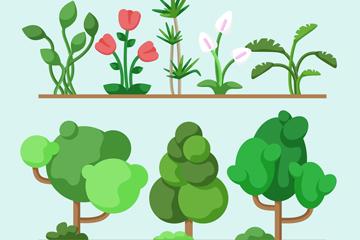 7款绿色树木和花卉矢量素材