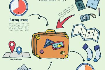 彩绘旅行元素信息图矢量素材