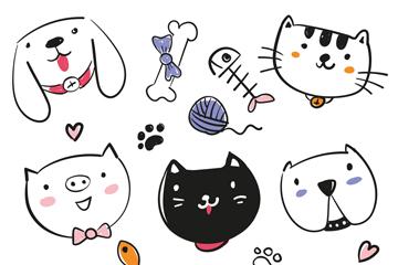 9款手绘可爱动物头像矢量素材