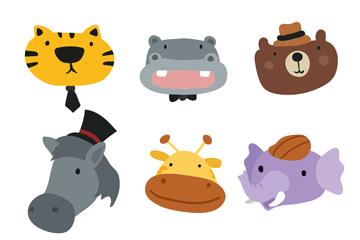 9款可爱野生动物头像矢量素材