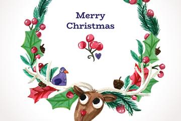 水彩绘圣诞驯鹿花环矢量素材