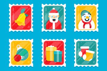 6款创意圣诞节邮票矢量素材