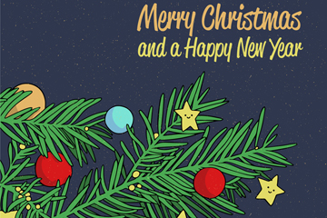 彩绘圣诞松树枝贺卡矢量素材