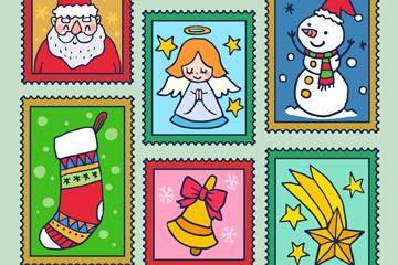 6款彩绘圣诞元素邮票矢量素材