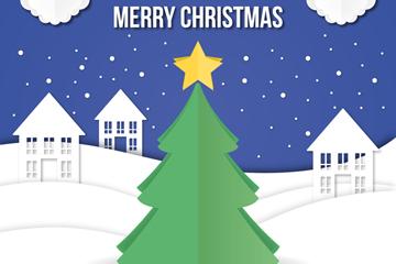 创意雪中的圣诞树贺卡矢量素材