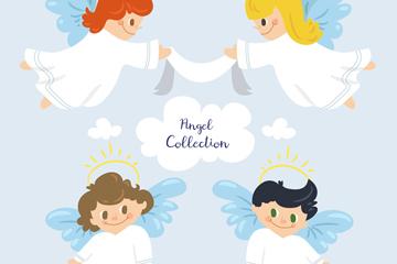 4款可爱白色天使矢量素材