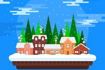 创意雪中的小城风景矢量素材