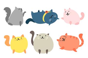 9款卡通彩色猫咪矢量素材