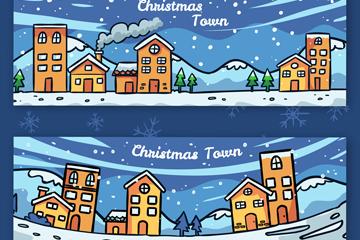 2款彩绘圣诞小镇风景banner矢量素材