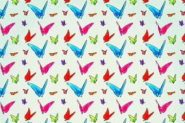 创意彩绘蝴蝶无缝背景矢量素材