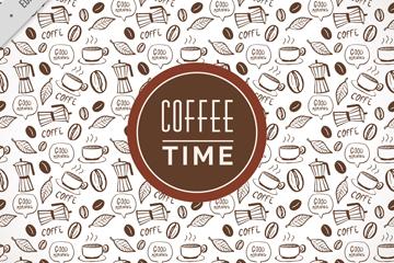 手绘咖啡元素无缝背景矢量素材
