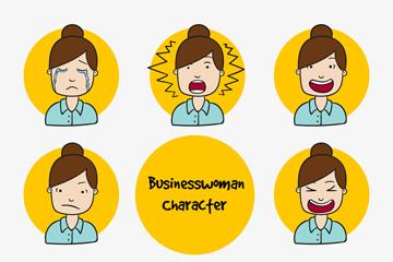 8款彩绘商务女郎表情头像矢量素材