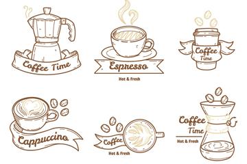 6款手绘咖啡元素徽章矢量素材